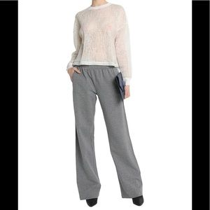 Wide leg casual comfy fleece sweat pants mid rise
